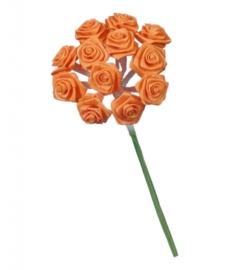 6547 100- 12 stuks roosjes van 10cm lang en 1.5cm breed oranje