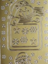 st968- stickervel met sneeuwpop en kerstman kaders 10x23cm goud