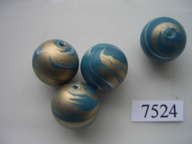 7524- 18mm tuqoise/blauwe kunststofkraal marmer