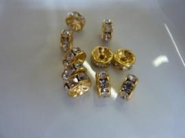 CH.009.10- 10 stuks A-grade strassringetjes van 6mm goudkleur - SUPERLAGE PRIJS!