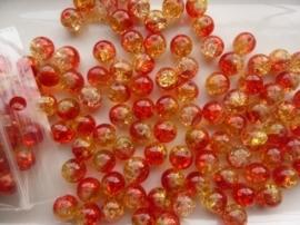G.4085- ca. 150 stuks qraccle glaskralen van 10mm rood/geel - SUPERLAGE PRIJS!