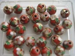 8 mm. CLOISSONNE kralen 12 stuks rood 1361