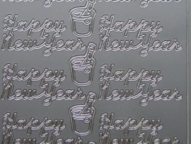 440- happy new year zilver 10x20cm