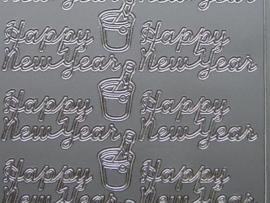 440- happy new year zilver 10x20cm