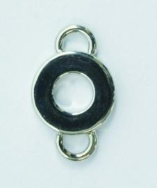 117450/4811- zwaar metalen tussenstuk rond met twee ogen 11mm  verzilverd