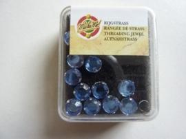 107007/0005- 12 stuks glazen rijg/naai strass steentjes 7mm rond kristal light sapphire
