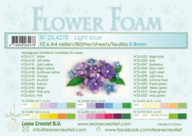 CE800205/4278- 10 sheets flower foam sheets A4 - lichtblauw