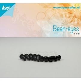 Joy6300/0612- 10 stuks bean ogen 7mm zwart