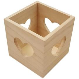 CE811760/1010- houten waxinelichthouder hartje 10x10x10cm