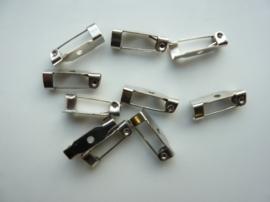 15.5mm - 10 stuks brochespeldjes staalkleur - SUPERLAGE PRIJS!