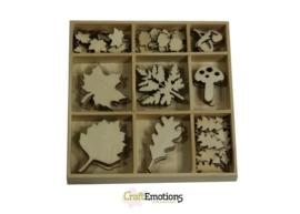 CE811500/0312- 75 stuks houten ornamentjes in een doosje bladeren 10.5x10.5cm
