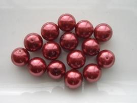 2265- 15 x glasparels 12mm donker rood