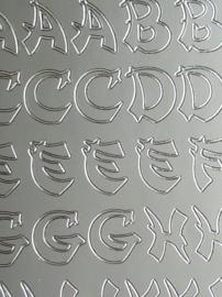 st1001- stickervel met Japans/Oosterse letters 10x23cm zilver