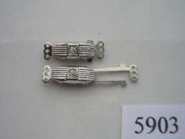 5903- 3 rij luxe siersluiting 21x7mm staalkleur