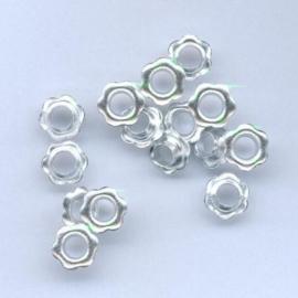 TH12043/4352- 15 stuks eyelets bloemen van 10mm zilver