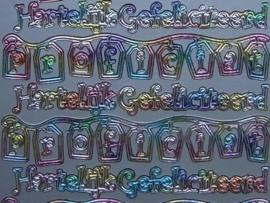 st515- hartelijk gefeliciteerd aparte letters multi colour 10x20cm
