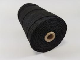 CE890040/3203- 215 mtr katoen macramé touw spoel 2mm 500grs - zwart