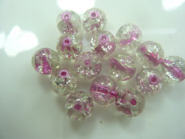 4096 - 15 stuks qraccle glaskralen van 9,5 mm. fuchsia