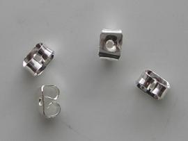 Poussets - 10 stuks vlinderklemmetjes voor oorstekers zilverkleur