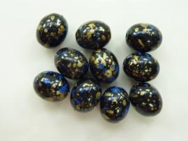 00827- 10 stuks kunststof kralen gemarmerd zwart/goud/blauw 14x11mm OPRUIMING