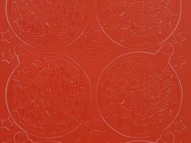 153- kerstbal met tekst rood 10x20cm
