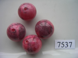 7537- 18mm donker roze kunststofkraal marmer