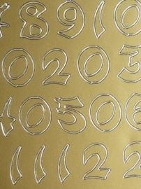 st999- stickervel met Japans/Oosterse cijfers 10x23cm goud