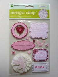 005838- design shop love struck 3D stickers OPRUIMING