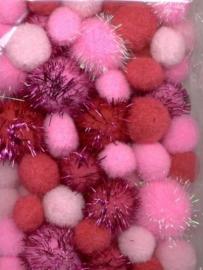 CE800600/3304- 50 stuks pompoms van 2 tot 3.5cm roze/rood glitter
