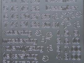 385- kalender teksten zilver 10x20cm
