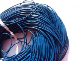 2 meter echt leren veter donkerblauw van 1.5mm dik - AA kwaliteit - SUPERLAGE PRIJS!