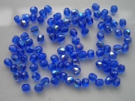 100 x geslepen glaskralen 4mm AB blauw 108004/0043KA