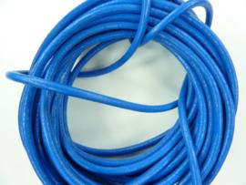 5 meter echt leren veter blauw van 3mm dik - AAA kwaliteit - SUPERLAGE PRIJS!
