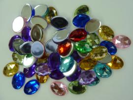 ca. 50 stuks kunststof strass stenen van 18x13mm ovaal kleurenmix
