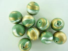 00090- 10 stuks kunststof kralen van 15mm gemarmerd groen/goud OPRUIMING