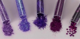 CE801515/8609- 5 buisjes glitter decoratie assortiment magic