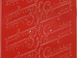 st 179- gelukkig nieuwjaar rood 10x20cm