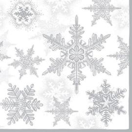 CE1113330/3580- 5 stuks servetten van 33x33cm sneeuwkristallen