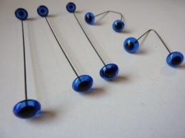 SLK191- 2 stuks glazen dierenogen van 12mm donkerblauw met ijzerdraad aan achterkant