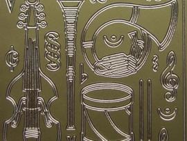 st344- muziekinstrumenten goud 10x20cm