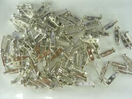 19 mm. 100 x brochespeldjes . staalkleur met veiligheids sluiting