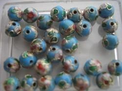 8 mm. CLOISSONNE kralen 12 stuks lichtblauw 1357