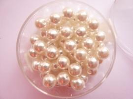 50 x ronde glasparels in een doosje 6mm ivoor wit - 2219 699