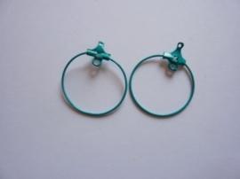 1 paar oorringen Creolen om aan oorhaakjes te hangen 2.5cm mintgroen OPRUIMING