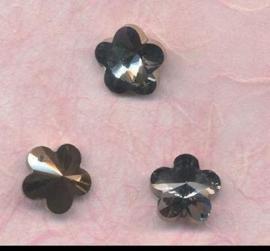 117471/0896- 4 x geslepen glashangers bloem 14mm antraciet