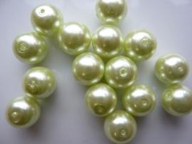 2236- 15 x ronde glasparels 12mm lichtgroen - SPECIALE PRIJS!