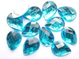 12 stuks kunststof strass stenen druppelvorm turquoise 25x18mm - SUPERLAGE PRIJS!