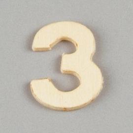 2227 1538- 2cm houten cijfer 3