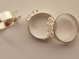 CH.162- 2 stuks verstelbare ringen met dubbele rij oogjes zilverkleur - SUPERLAGE PRIJS!
