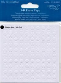 2 vel dubbelzijdig klevende foam rondjes 1mm dik - 200 rondjes van 6mm -TH12188/8803